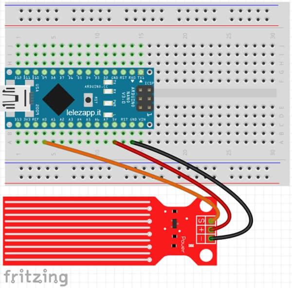 Livello dei liquidi con Water Sensor e Arduino Nano. Circuito Fritzing