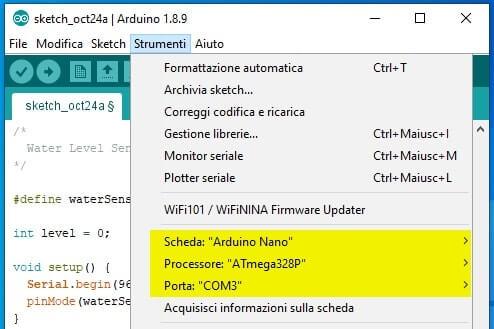 Configurazione Parametri Arduinoi IDE