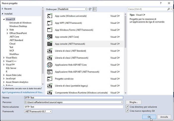 Connessione SFPT tramite libreria .NET WinSCP in C#. Configurazione progetto