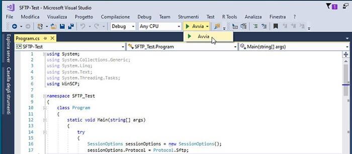 Connessione SFPT tramite libreria .NET WinSCP in C#. Esecuzione del progetto