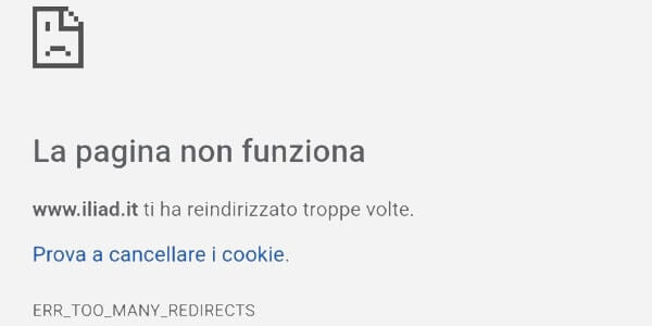 Correggere ERR_TOO_MANY_REDIRECTS in Google Chrome