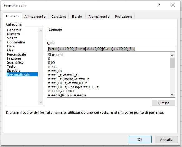 Cambiare il colore del testo in EXCEL in base al valore formula