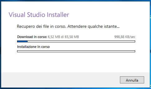 Installare e configurare Visual Studio Community Edition download