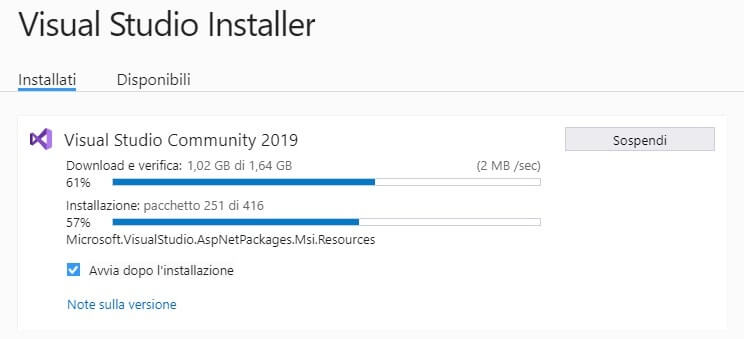 Installare e configurare Visual Studio Community Edition installazione