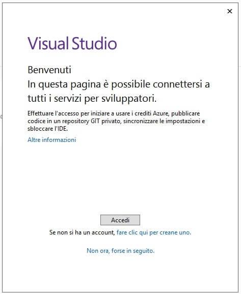 schermata di benvenuto visual studio community