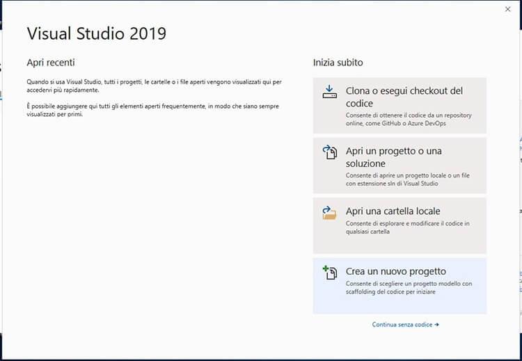 Installare e configurare Visual Studio Community Edition avvio IDE