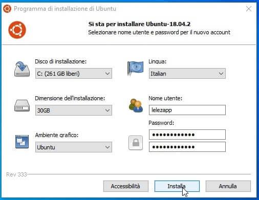 Setup configurazione installazione