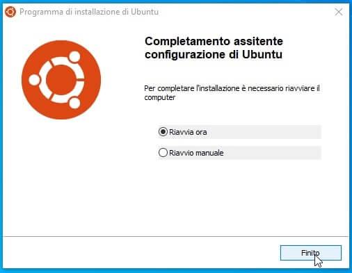 riavvio per completamento installazione ubuntu