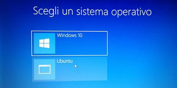 Come installare Linux Ubuntu da Windows. Selezione OS da dual boot
