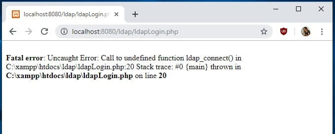 Fatal Error Call to undefined function ldap_connect() browser message