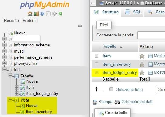 Creare una Vista MySql in phpMyAdmin esecuzione