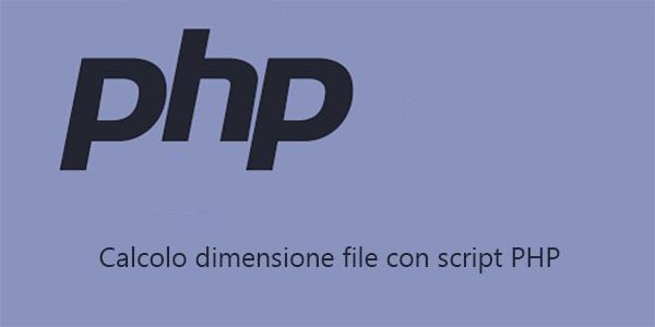 Dimensione file con script PHP