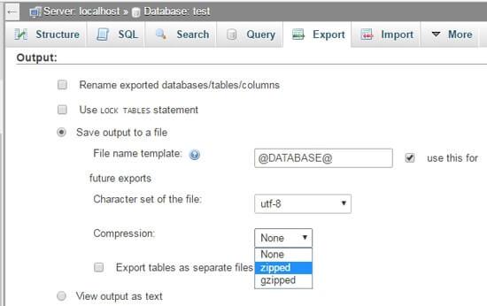phpMyAdmin - Error Incorrect format parameter compression