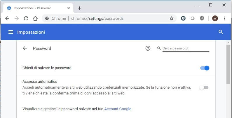 Recuperare password salvate su Google Chrome elenco password
