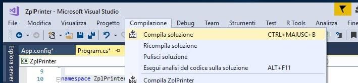 Compilazione progetto ZplPrinter