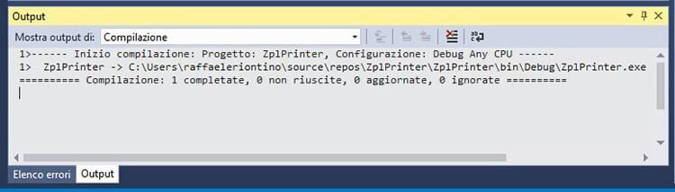 Inviare comandi ZPL a stampanti Zebra in C# esito della compilazione