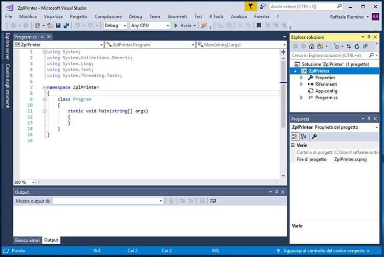 Inviare comandi ZPL a stampanti Zebra in C# screen progetto creato