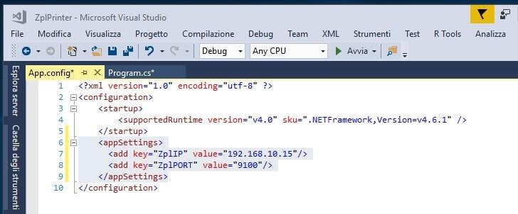 file di configurazione appSettings