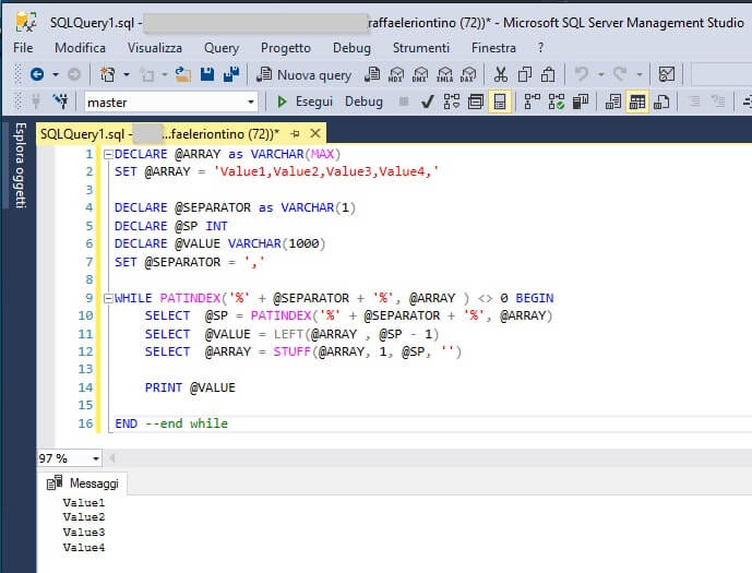 Come creare un Array in SQL Server