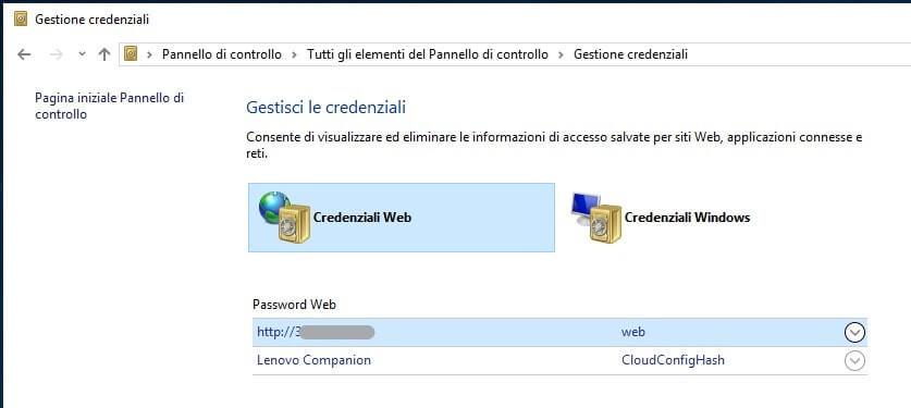 Visualizzare password salvate in Microsoft Edge credenziali web
