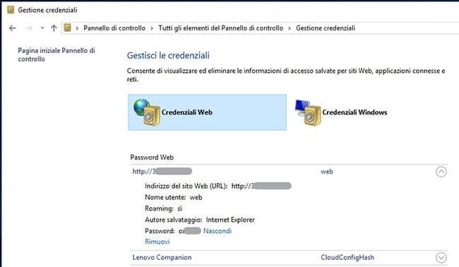 Visualizzare password salvate in Microsoft Edge visualizzazione password