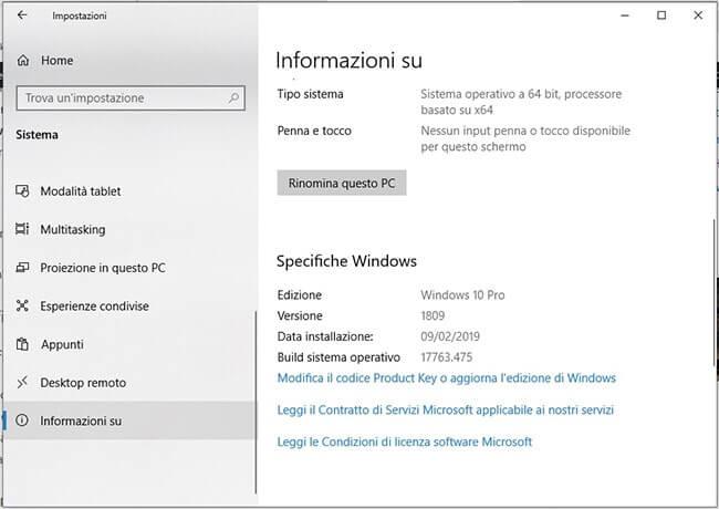 Scoprire edizione versione e build di Windows installata informazioni su